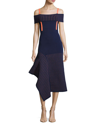 Knit Off-the-Shoulder Dress, Blue