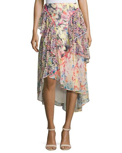 Floral-Print Chiffon High-Low Skirt, Multi