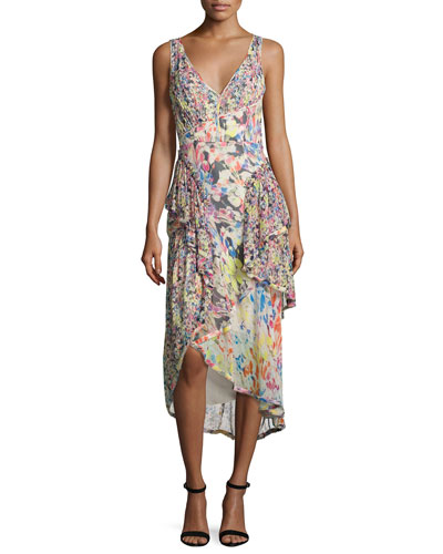 Mixed Floral-Print Chiffon Midi Dress, Multi