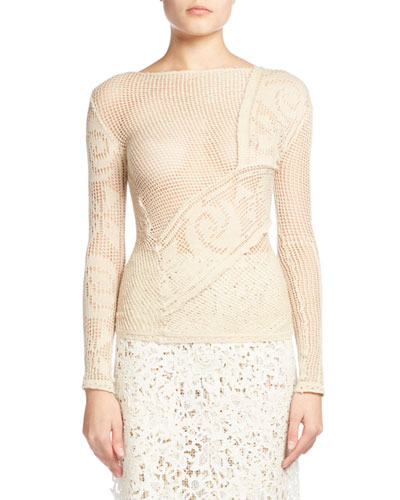Crocheted Lace Sweater, Ecru