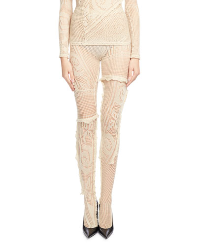 Crocheted Lace Tights, Ecru