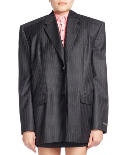 Boxy Pinstriped Wool Jacket w/Skirt Panel, Gray