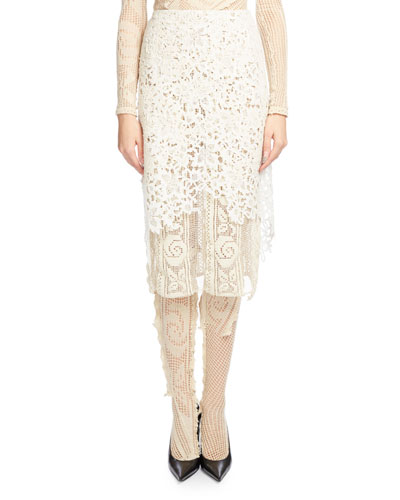 Layered Guipure Lace Skirt, Ecru