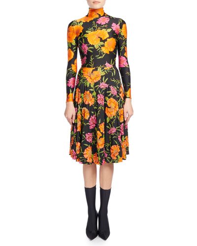 Floral-Print Mock-Neck Skater Dress, Black Pattern