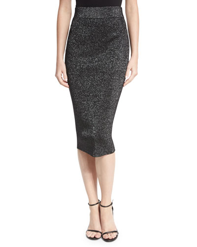 Metallic Knit Pencil Skirt