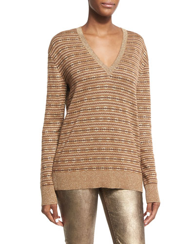 Metallic Deco Knit V-Neck Pullover, Brown