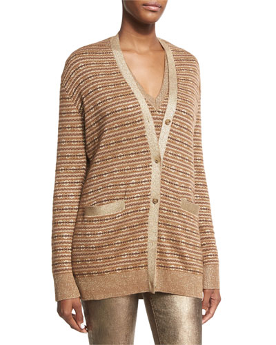 Metallic Deco Knit Cardigan, Brown