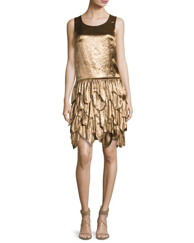 Dara Tiered Sleeveless Dress, Bronze