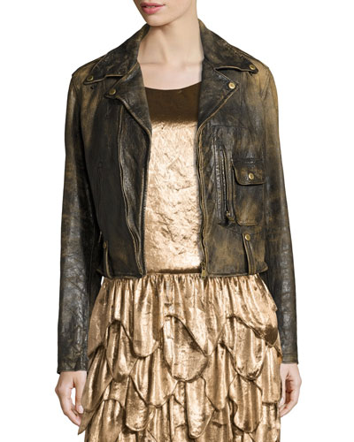 Dwight Distressed Leather Jacket, Black