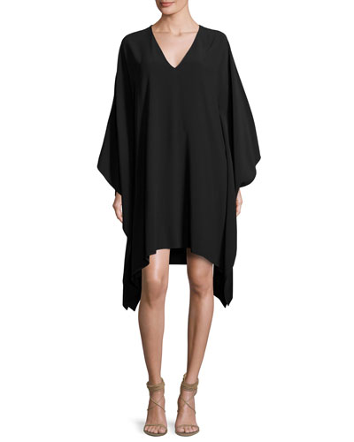 Gaelle V-Neck Caftan Dress, Black
