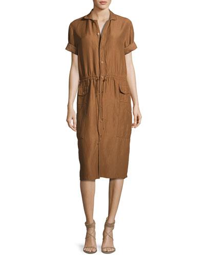 Tilden Short-Sleeve Shirtdress, Brown