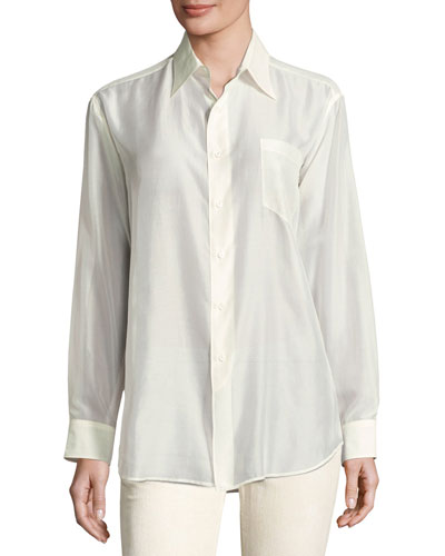 Damien Cotton Voile Blouse, Cream