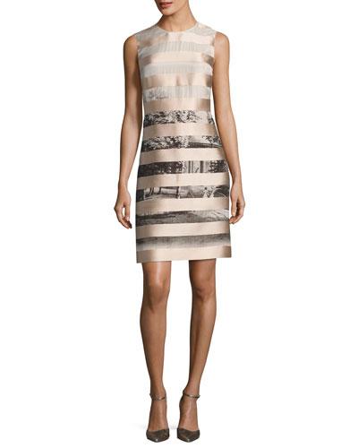 Satin-Striped Shift Dress, Multi