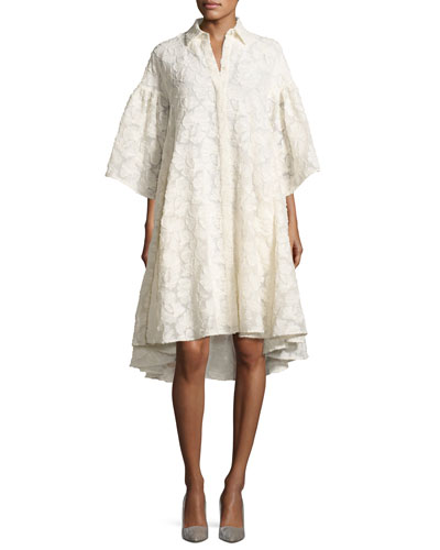 Floral Fil Coupé Flared-Sleeve High-Low Shirtdress, Ivory