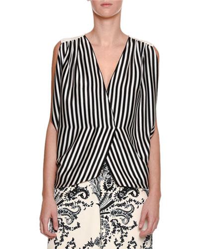 Striped Silk Wrap Top
