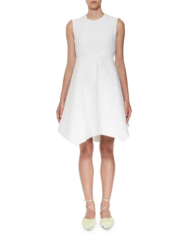 Sleeveless Matelasse Poplin Dress, White