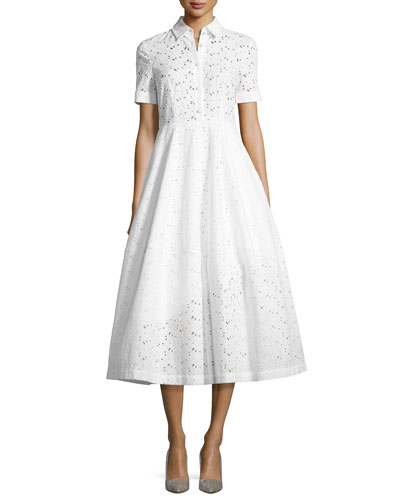 Eye Lace Tea-Length Shirtdress, White