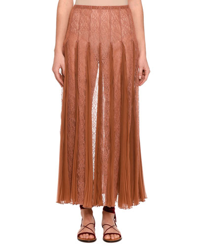 Pleated Chiffon Lace Maxi Skirt, Beige