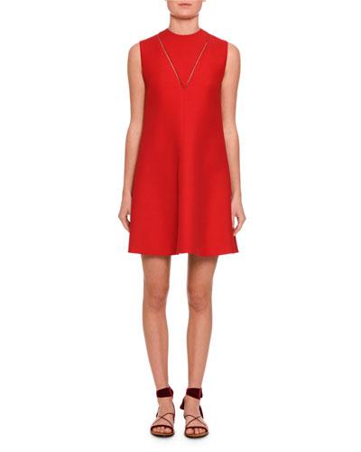 Sleeveless Crepe V-Stitch Dress