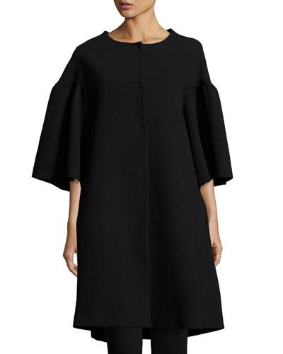 Flared-Sleeve A-Line Car Coat, Black