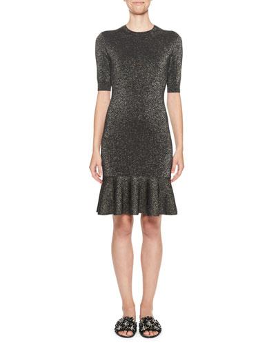 Metallic Knit Half-Sleeve Dress, Black