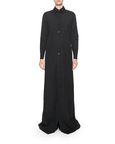 Poplin Maxi Shirtdress, Black