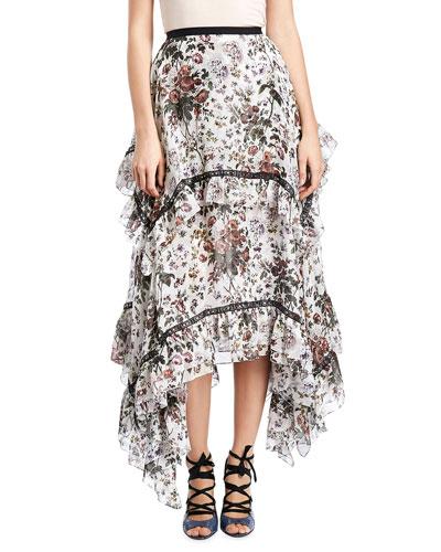 Nova Floral Tiered Midi Skirt, White