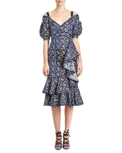 Kaitlyn Floral-Print Midi Dress, Blue