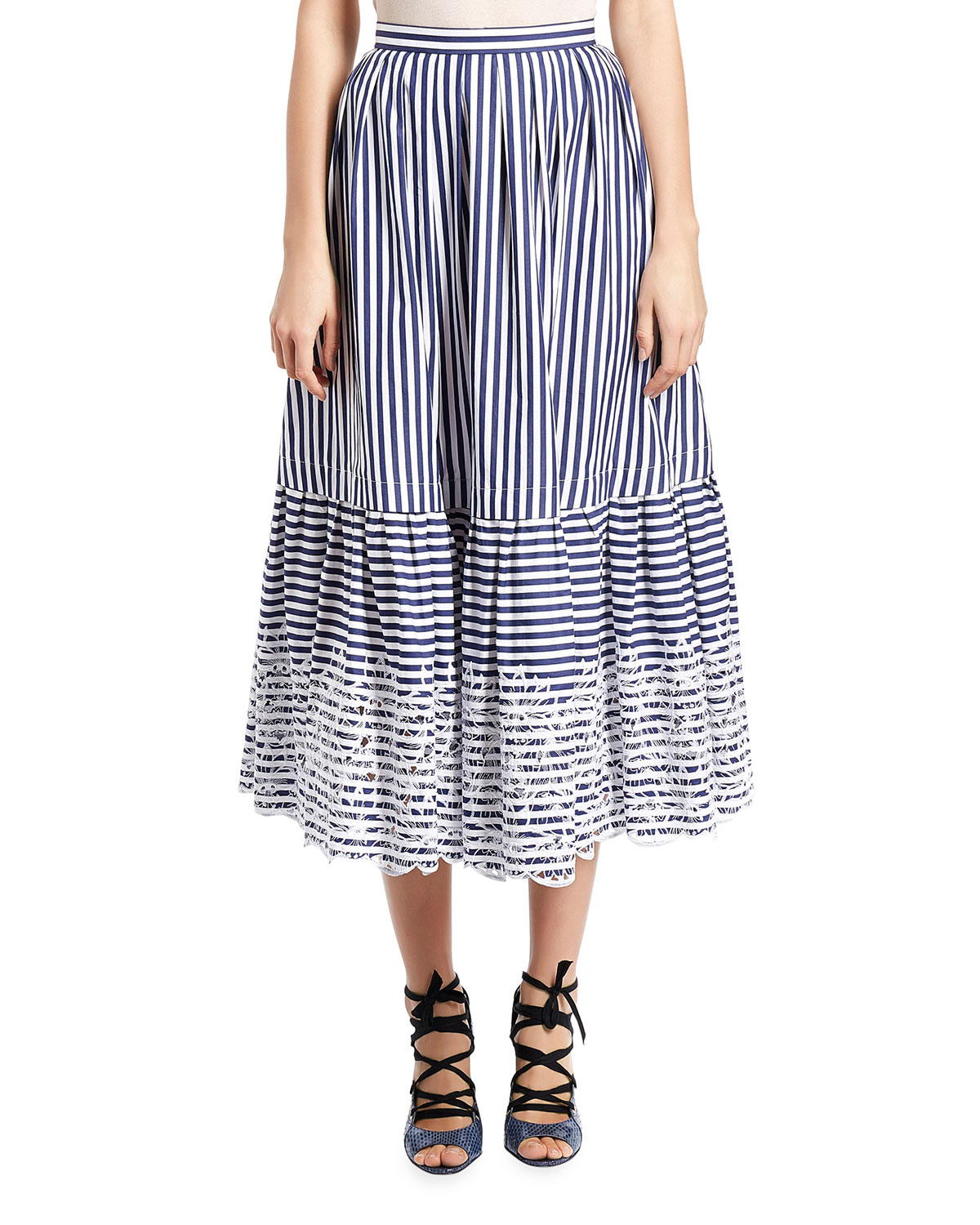 Leigh Striped Midi Skirt, Blue