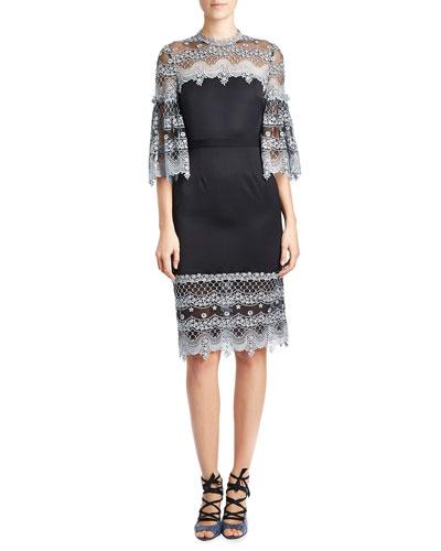 Kiya Lace-Trim Half-Sleeve Dress, Blue