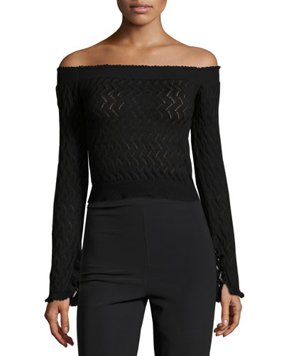 Bella Zigzag Knit Off-Shoulder Top, Black