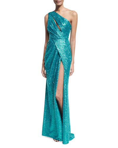 Sequined Drape-Front One-Shoulder Gown, Blue