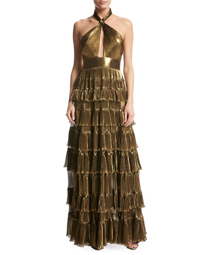 Metallic Georgette Halter Gown, Gold