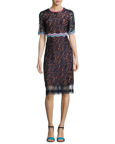 Half-Sleeve Lace Sheath Dress, Navy