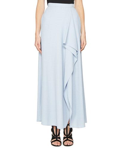 Upton Chevron Draped Ruffle Maxi Skirt, Lavender
