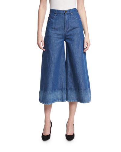 Denim Wide-Leg Cropped Pants, Blue