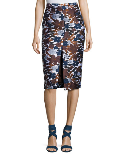Floral-Embroidered Pencil Skirt, Brown