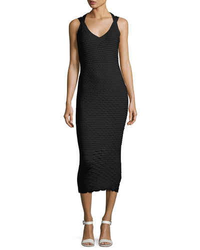 Fish Scale Jacquard Midi Dress, Black