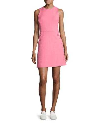 Sleeveless Button-Trim Shift Dress, Pink