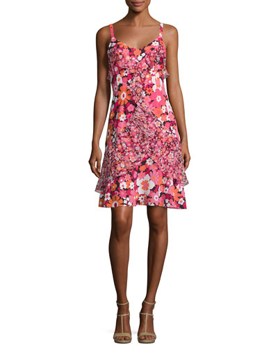 Ruffled Floral-Print Silk Slip Dress, Pink