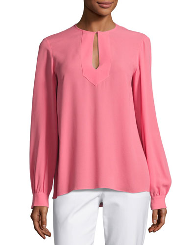 Split-Neck Silk Blouse, Pink