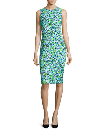 Spring Floral Sleeveless Sheath Dress, Blue