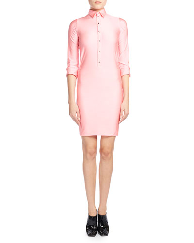 Fitted 3/4-Sleeve Spandex Polo Dress, Pink