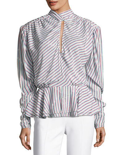 Striped Satin Keyhole Top, White Pattern
