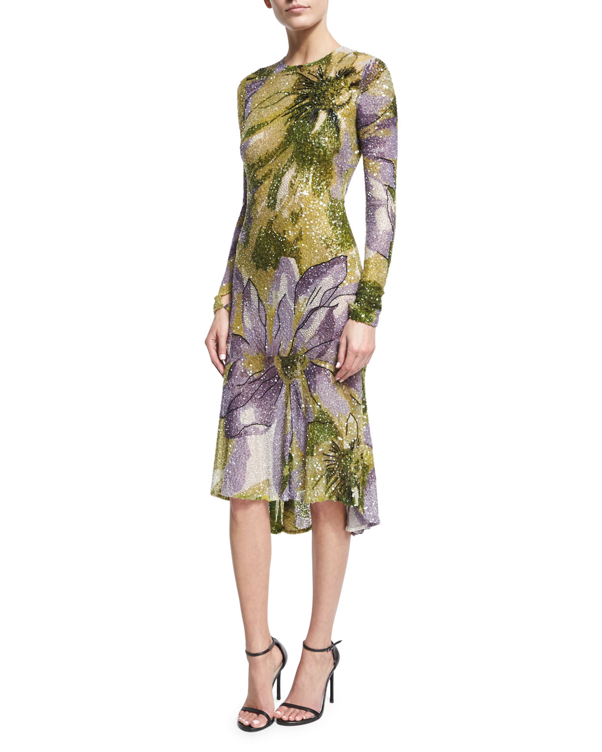 Long-Sleeve Floral Beaded Cocktail Dress, Lilac