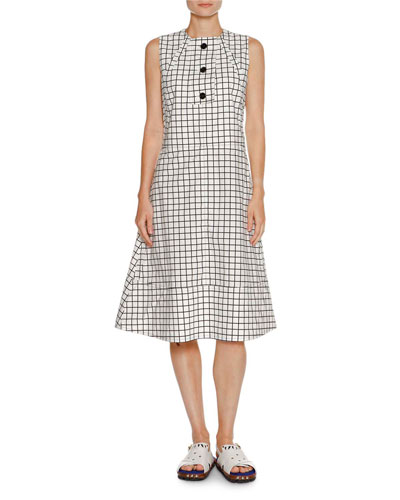 Grid-Print Poplin A-Line Dress, White