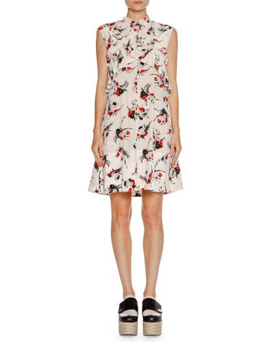 Sleeveless Ruffled Crisscross Dress, White Print