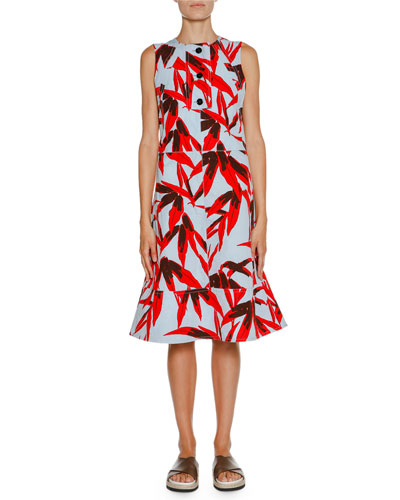 Printed Sleeveless Midi Dress, Bamboo