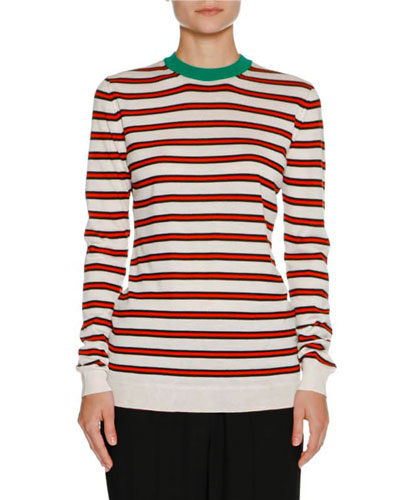 Striped Cashmere Crewneck Sweater, White