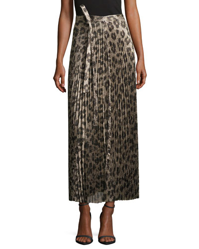Pleated Metallic Leopard-Print Midi Skirt
